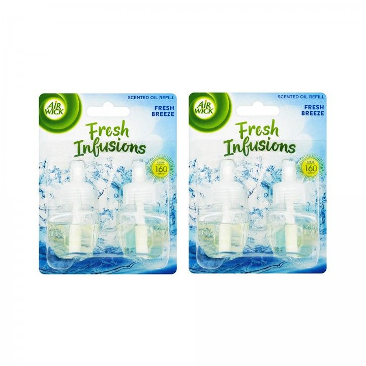 Air Wick Recarga Ambientador Eléctrico Duo Fresh Breeze 2 x 19 ml - Pack 2 x 2 x 19 ml