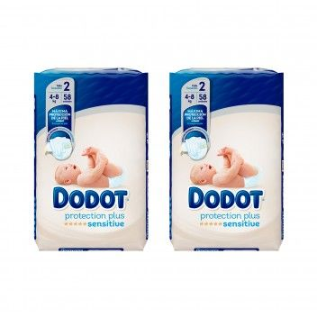 Dodot Sensitive Protection Plus Fraldas Recém Nascido T2 (4-8kg) 58 un - Pack 2 x 58 un