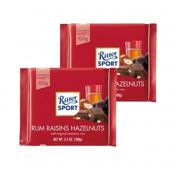 Ritter Sport Chocolate com Rum e Frutos Secos 100 gr - Pack 2 x 100 gr